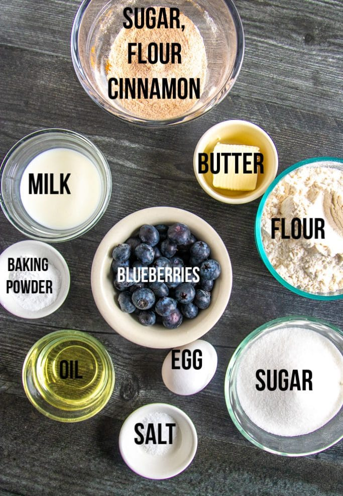 Blueberry Crumb Muffins ingredients