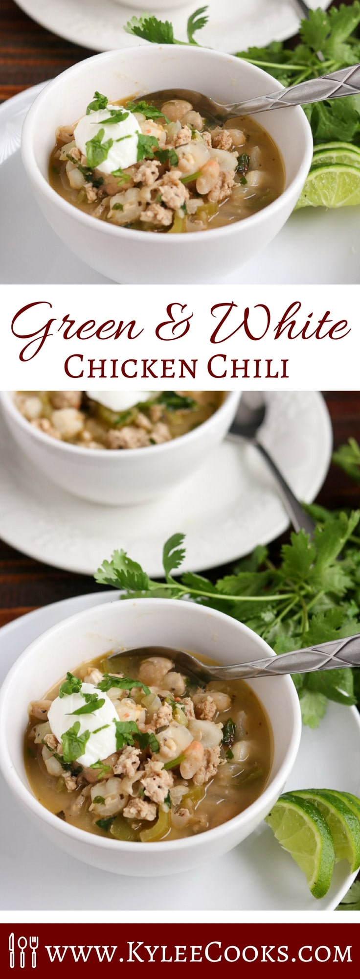 This low fat green and white chicken chili has all the hallmarks of yum! Very easy to make, dinner can be ready in 30 mins! Make ahead and freeze for weeknights!