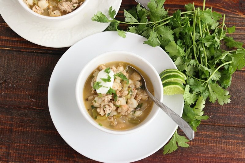 Green & White Chicken Chili - white bowl cilantro