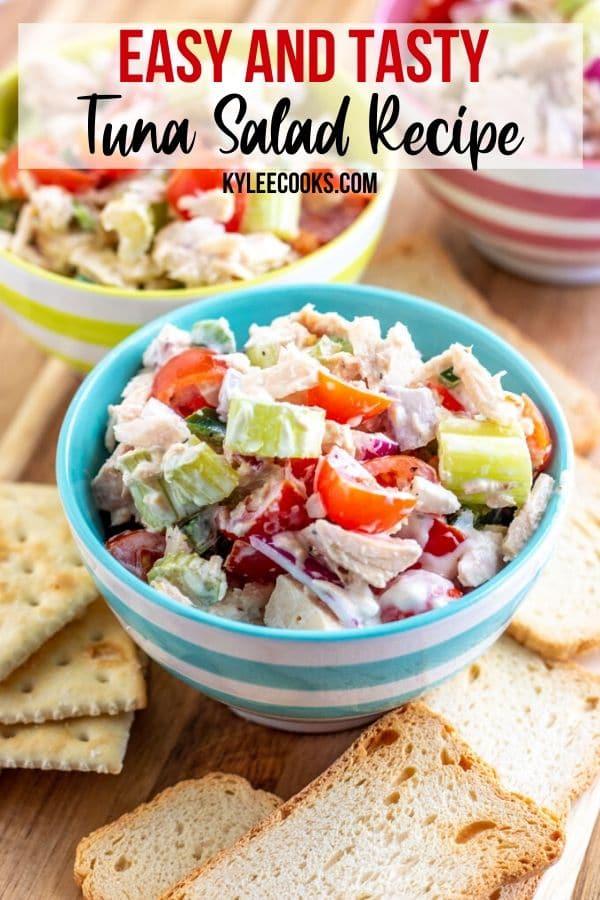 tuna salad with text overlay