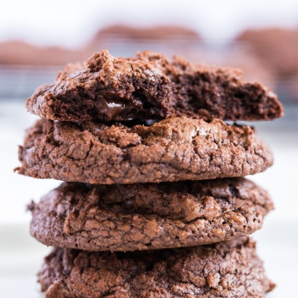 triple chocolate cookies stacked