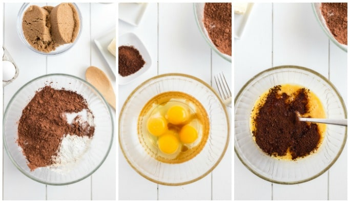 collage of process shots to make triple chocolate cookies