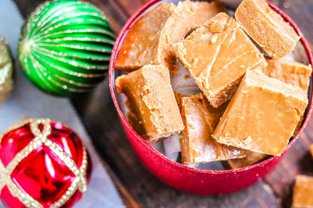 caramel fudge - with christmas ornaments