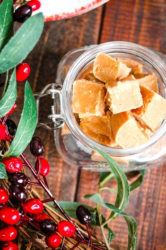 caramel fudge with christmas or holiday decorations