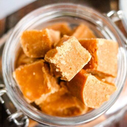 caramel fudge in a glass jar