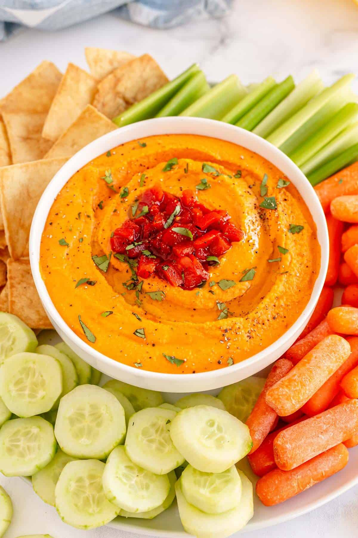 hummus with pita, carrots, celery and cucumbers