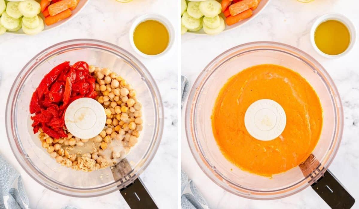 hummus ingredients in a food processor bowl