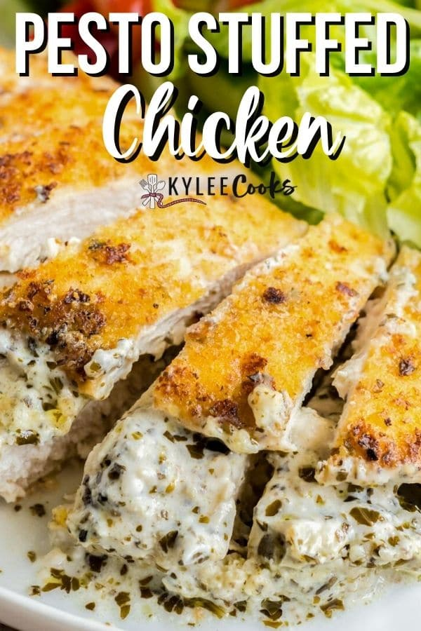 pesto stuffed chicken pin with text overlay