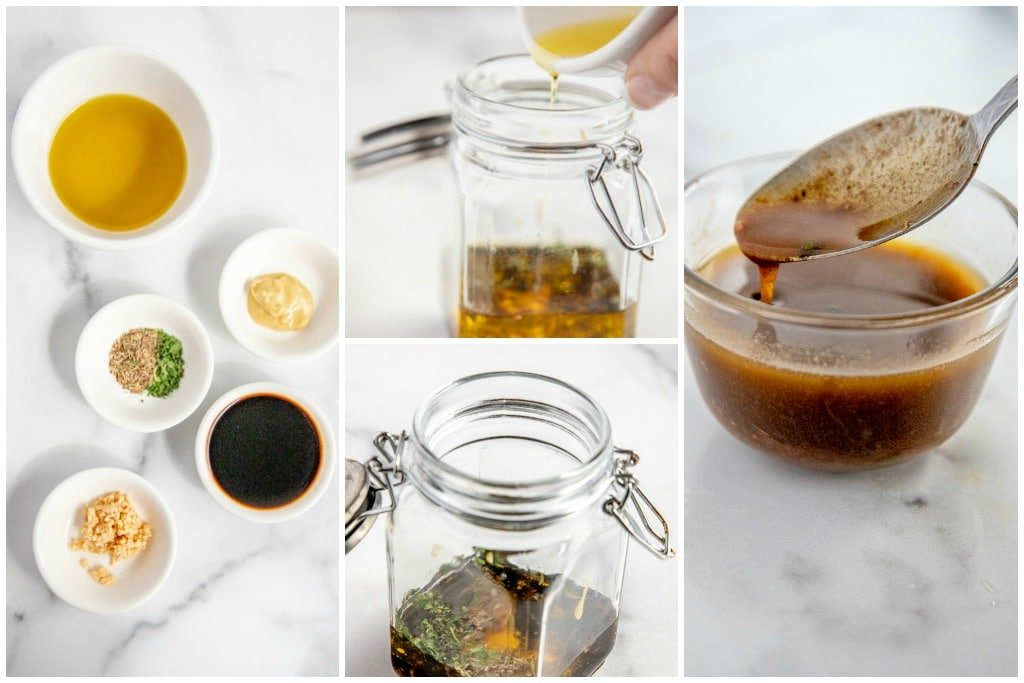 collage of process shots showing how to make mustard vinaigrette