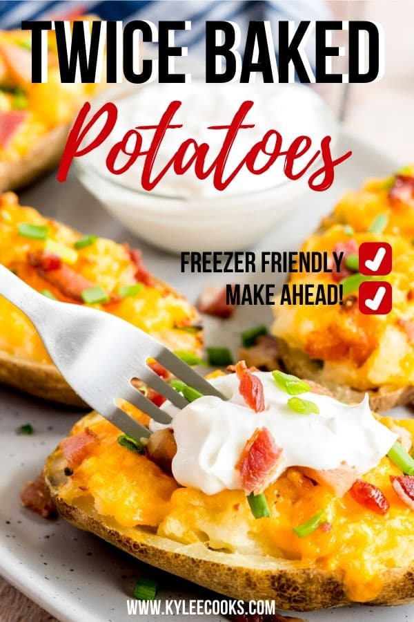 twice baked potatoes pin with text overlay