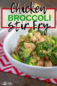 Chicken broccoli stir fry with text overlay