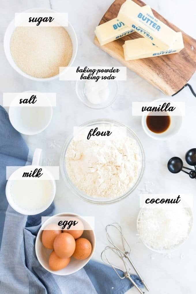 coconut cupcake ingredients laid out and labeled