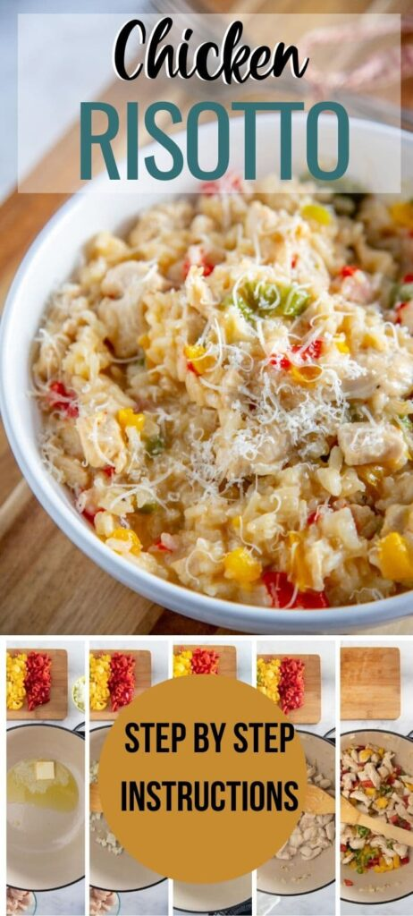 Chicken risotto pin with text overlayisotto with Vegetables - 600x900 PIN