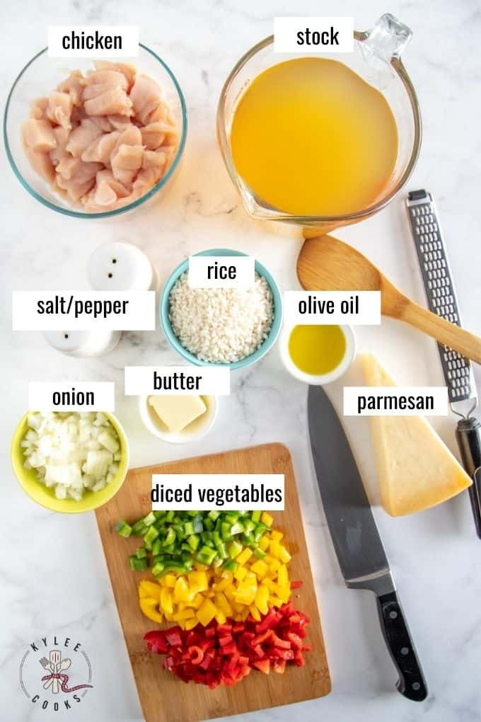 ingredients for risotto laid out and labeled