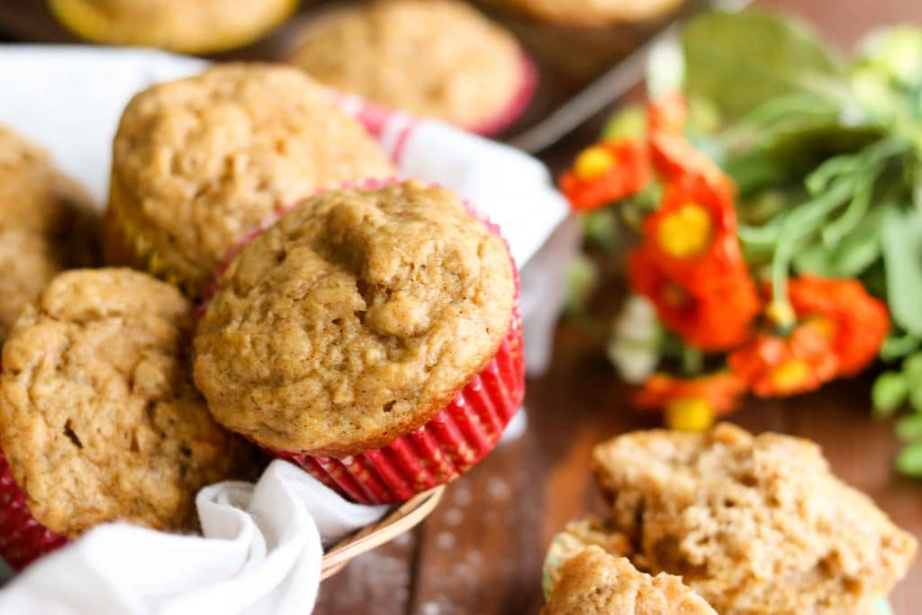 Butternut Squash Cinnamon Banana Muffins - muffins in basket