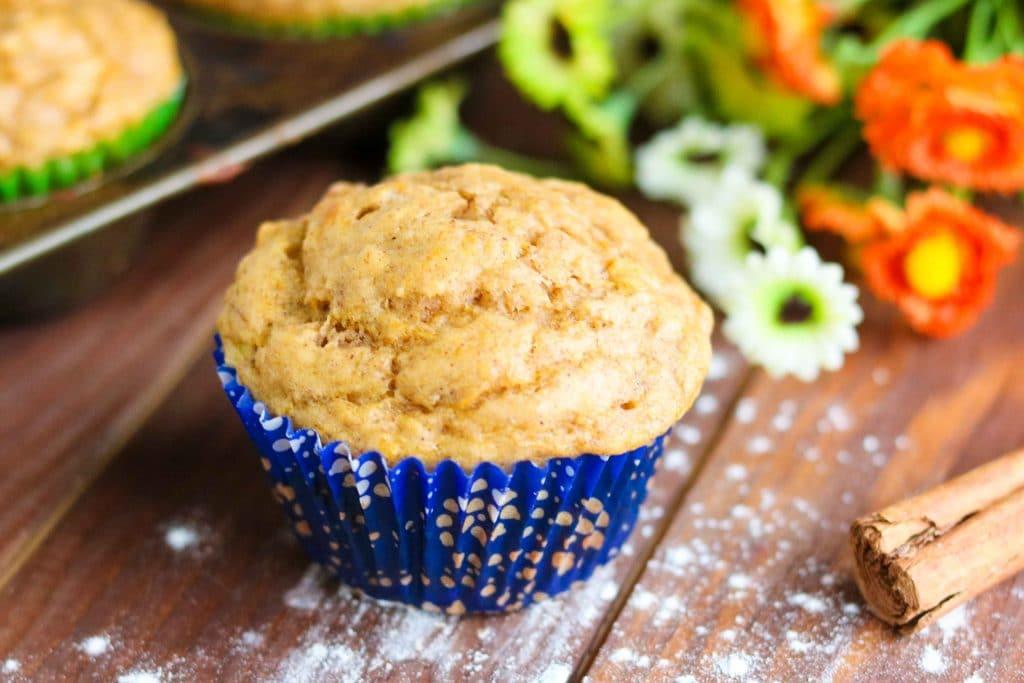 Butternut Squash Cinnamon Banana Muffins - large muffin, blue paper cup