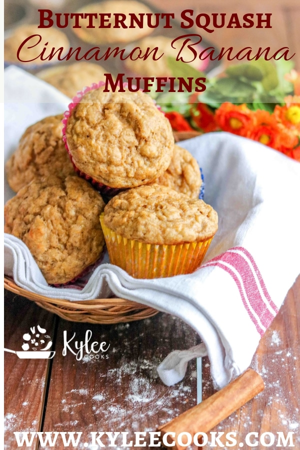 Butternut squash muffins on white towel in a basket.