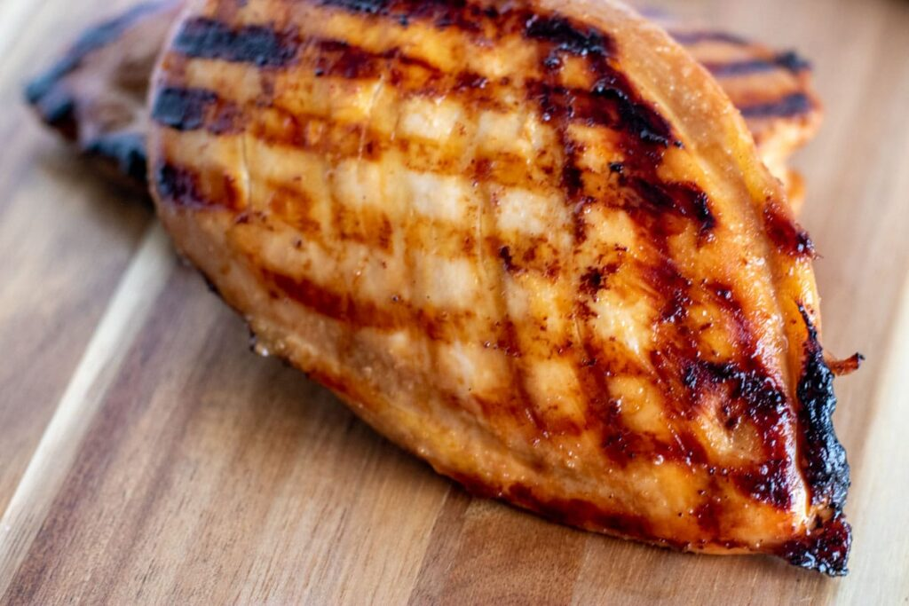 close up shot of freshly grilled chicken