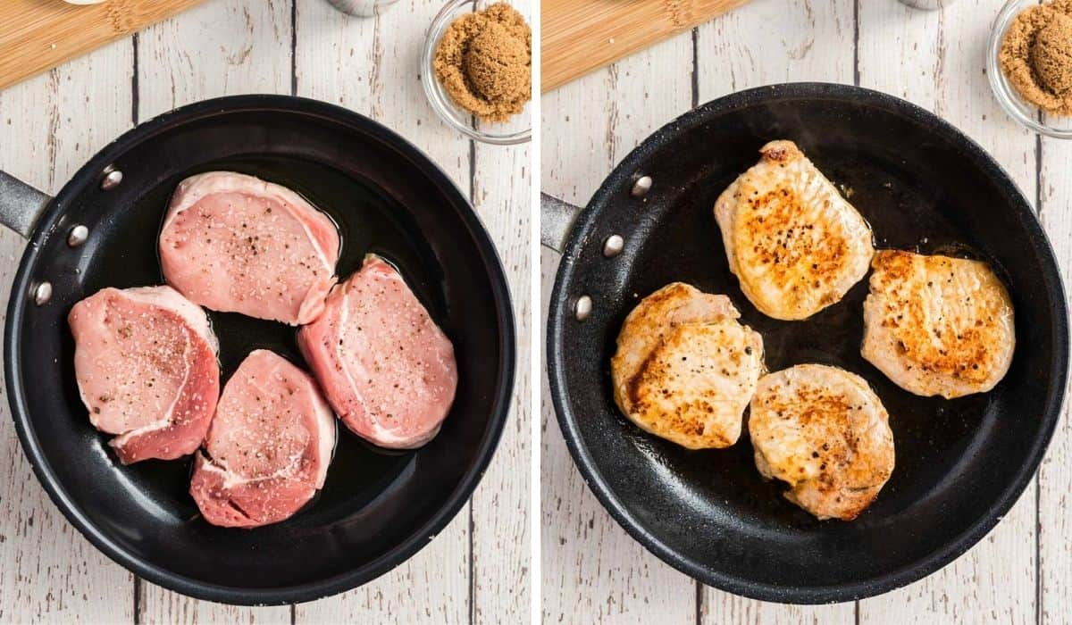 step by step photos showing cooking pork