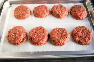 beef burgers in patties