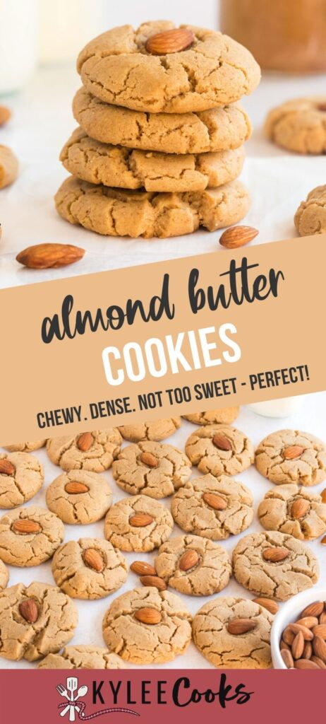 almond butter cookies pin with text overlay