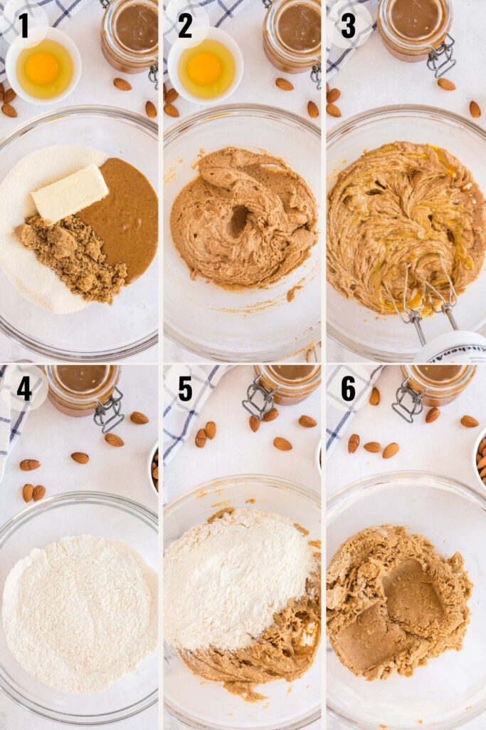 almond butter cookies - collage showing how to make the batter