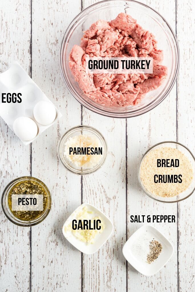 turkey meatballs ingredients laid on a white background with text labels