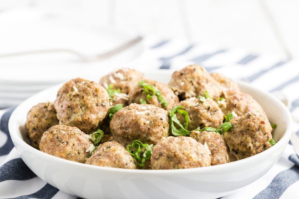 turkey meatballs in a white bowl