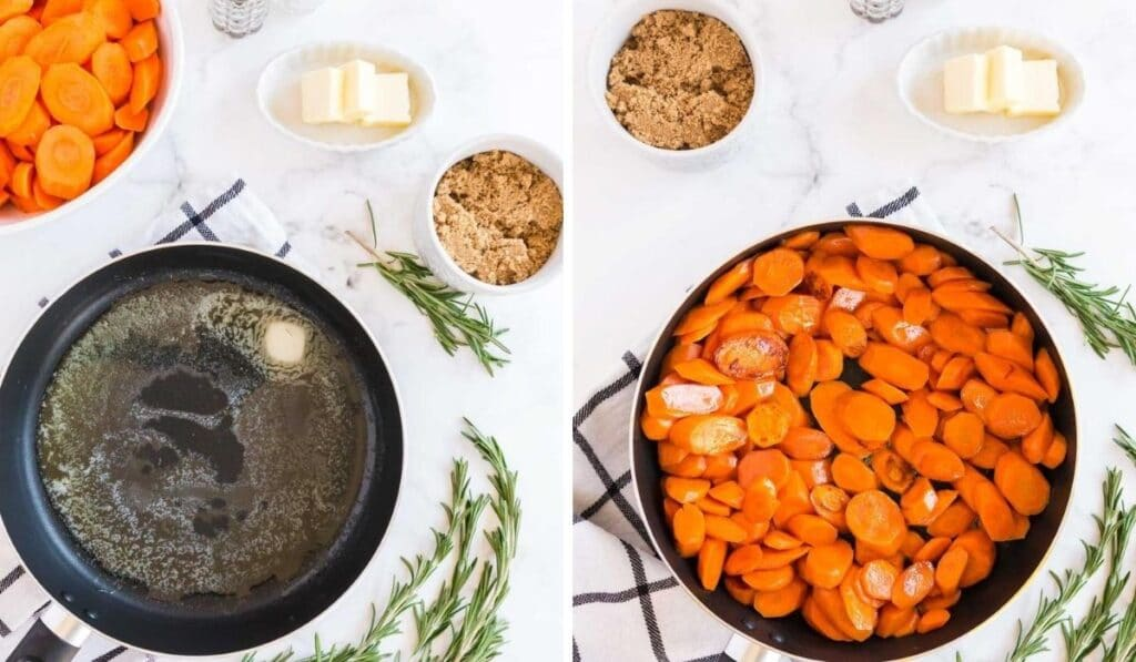 2 pictures showing the first step to making glazed carrots