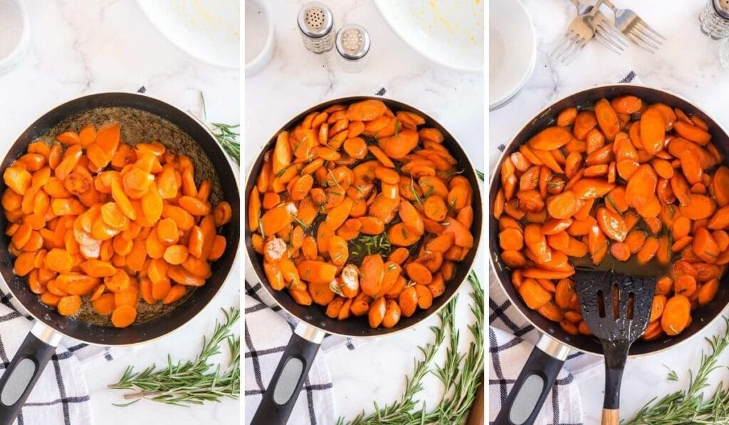 finishing off the carrot dish in the skillet