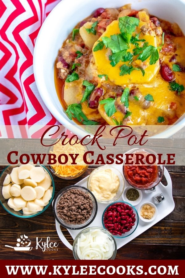 Beef, potatoes, onions, kidney beans and CHEESE feature in this slow cooked Cowboy Casserole! #recipe #homemade #crockpot