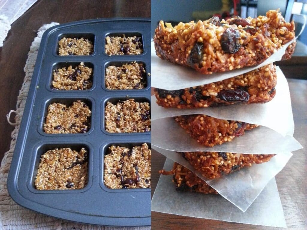 side by side image of granola bars in a tin and stacked