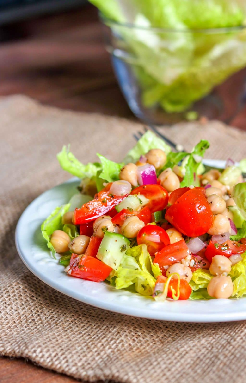Chickpea salad on a bed of lettuce