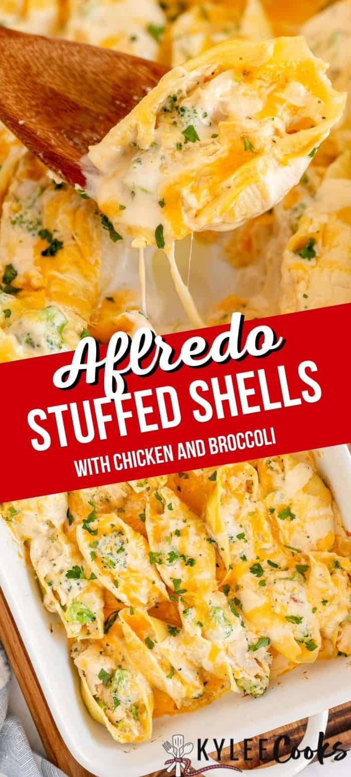 collage of chicken alfredo stuffed shells with recipe name in a text overlay