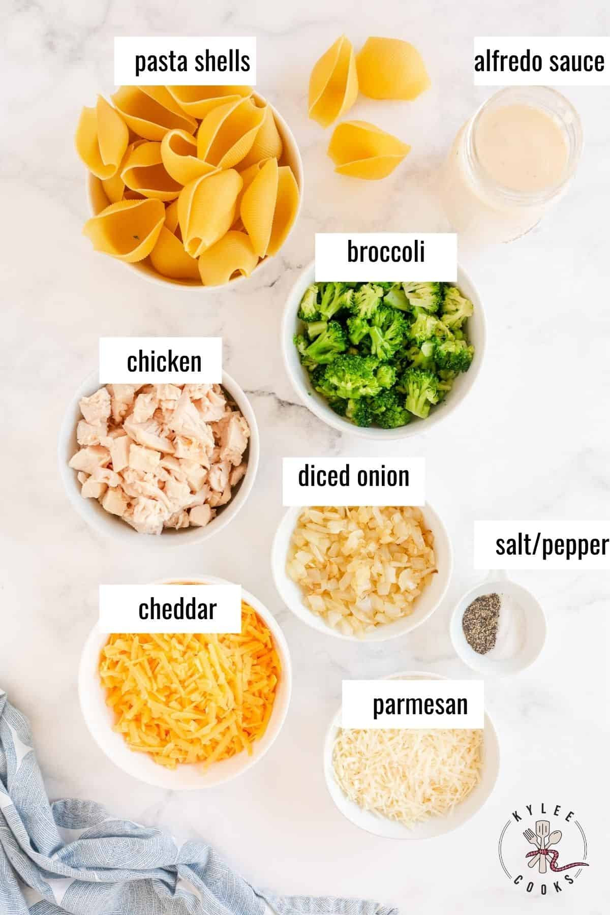 ingredients to make chicken alfredo stuffed shells laid out and labeled