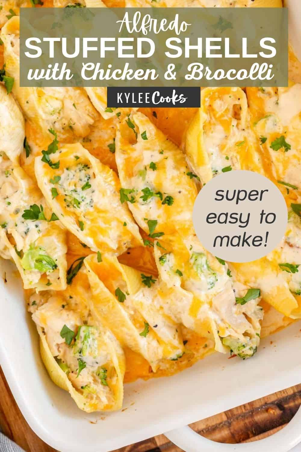 chicken alfredo stuffed shells with recipe name in a text overlay