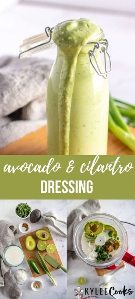 avocado cilantro dressing pin with text overlay