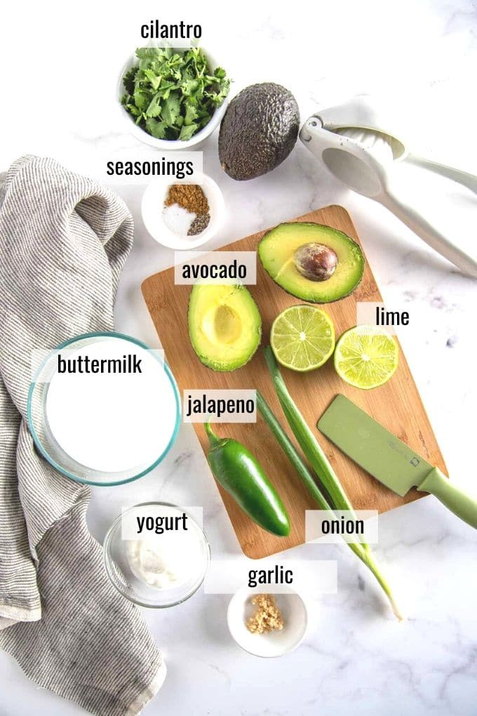 avocado cilantro dressing ingredients laid out and labeled