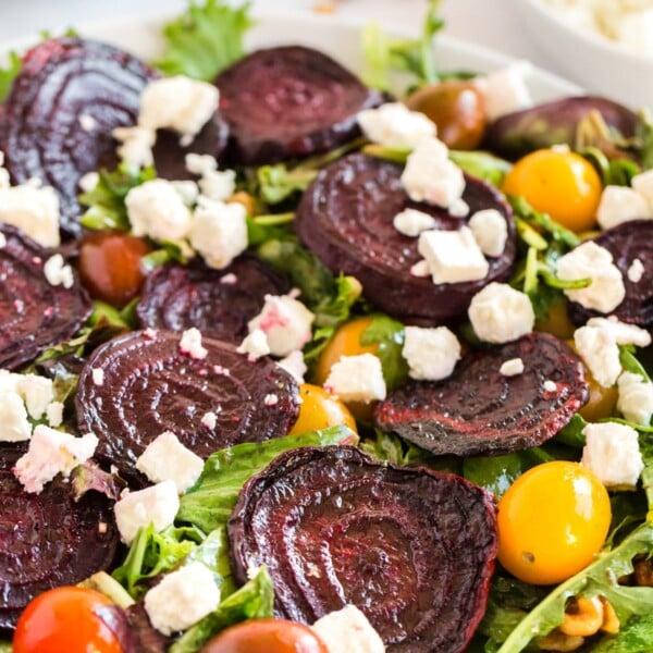 close up of roasted beet salad