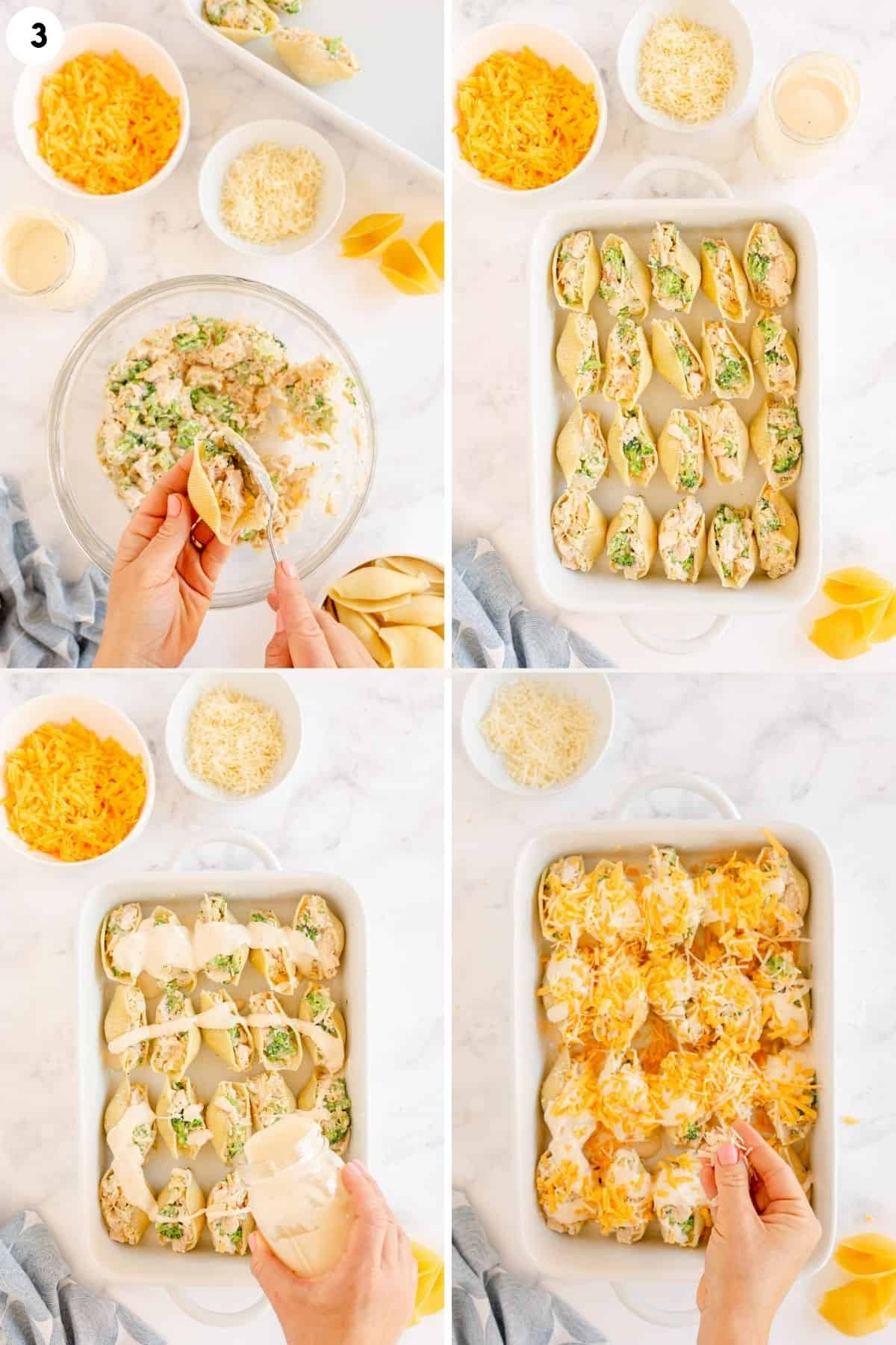 collage of step by step photos showing how to make chicken alfredo stuffed shells