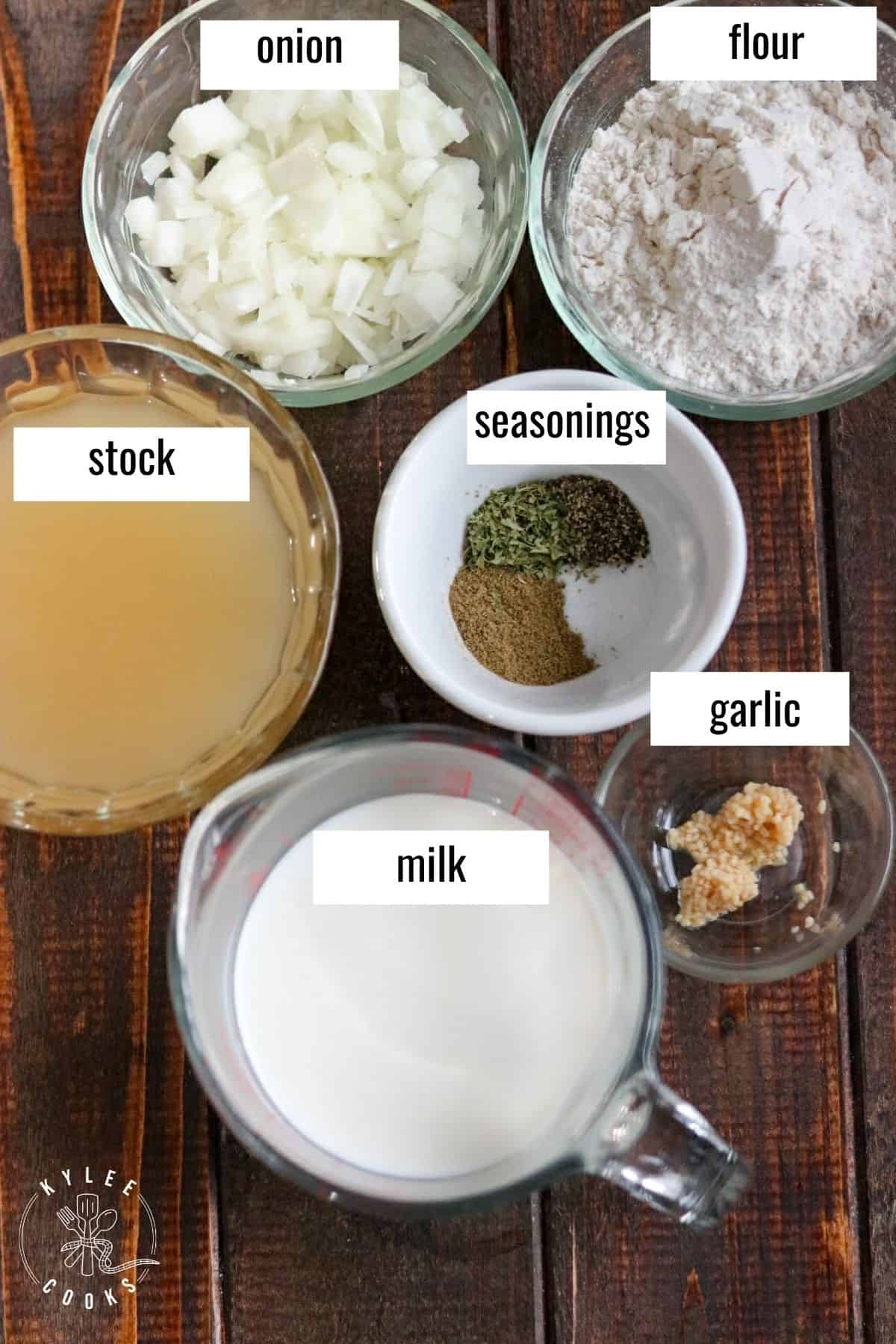 ingredients in homemade cream of chicken soup laid out and labeled