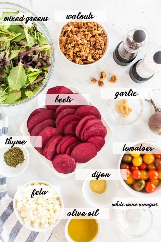 ingredients to make roasted beet salad laid out and labeled