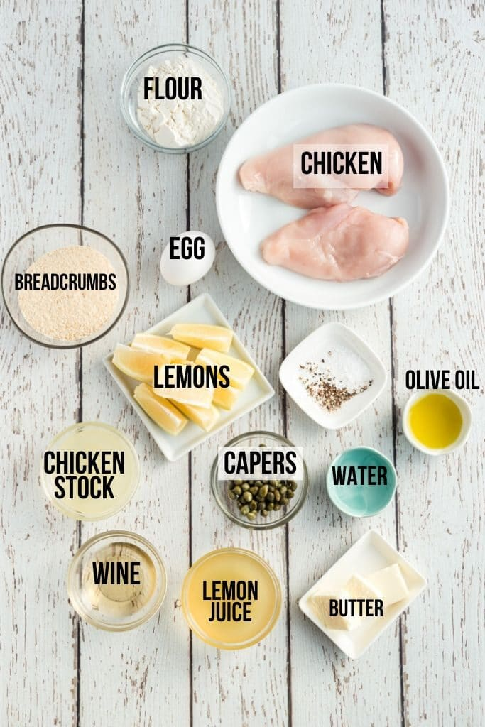 chicken piccata ingredients laid out and labelled