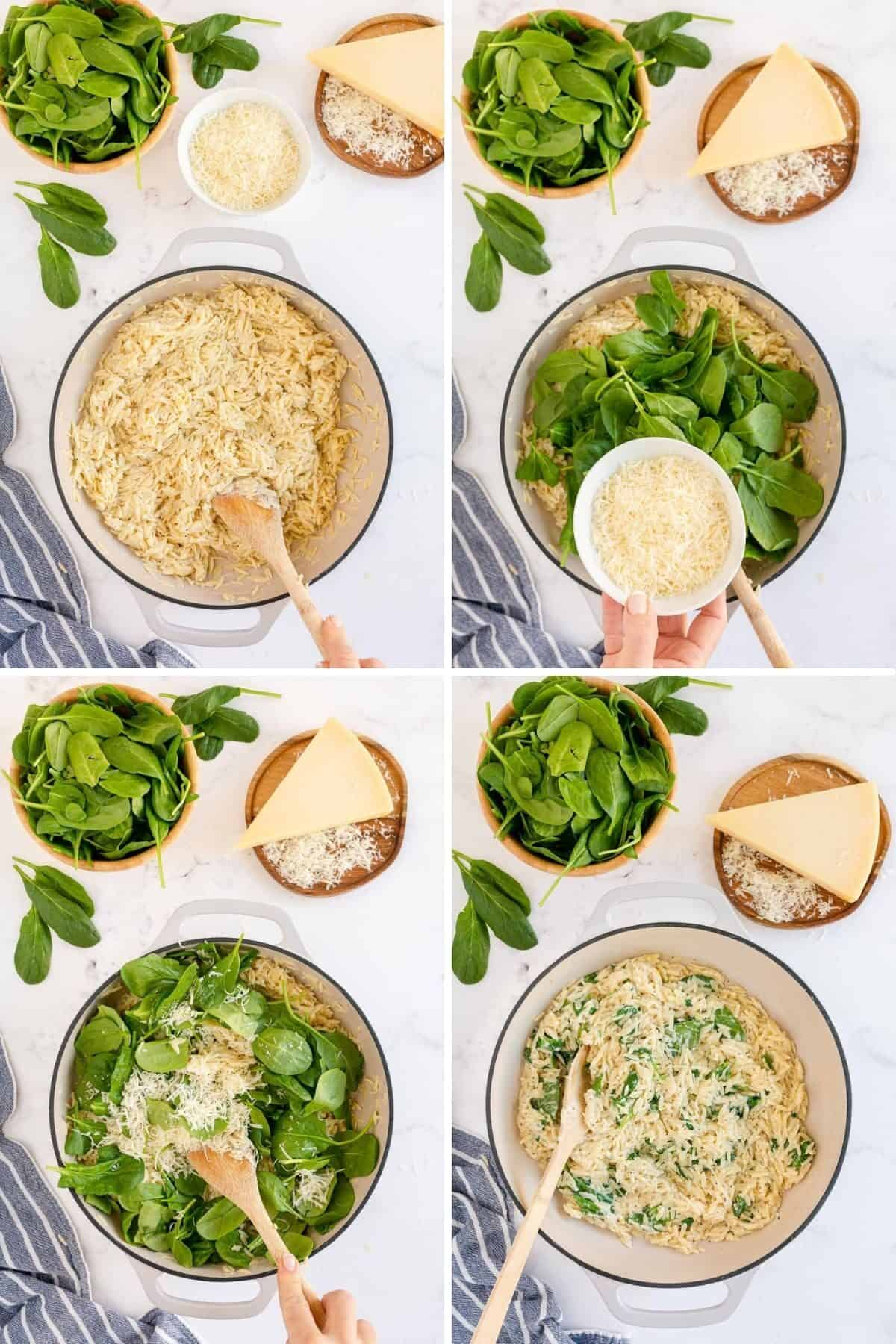 combining ingredients for spinach orzo