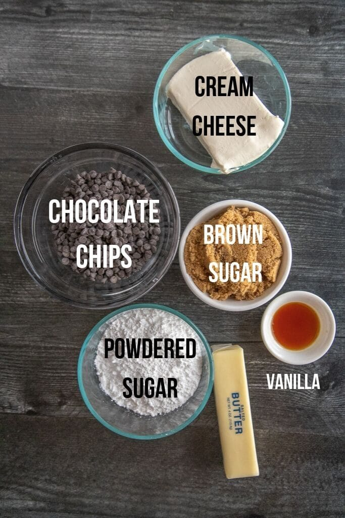cookie dough dip ingredients with text labels