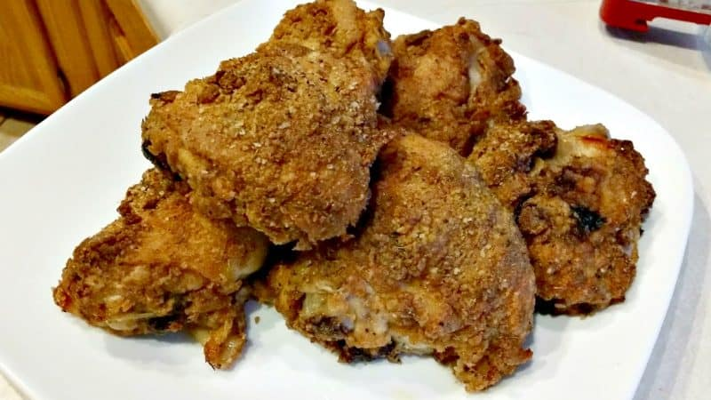 oven fried chicken on a white plate