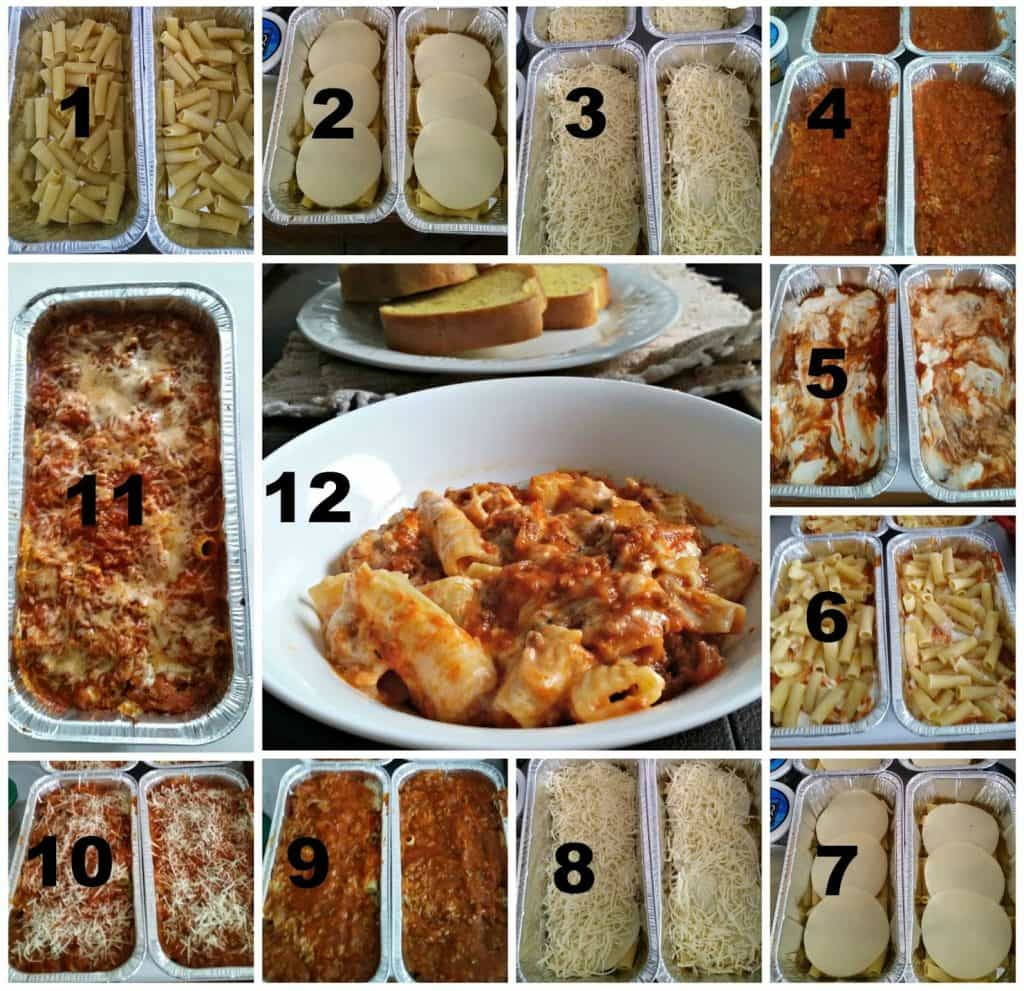 collage of process shots showing how to assemble baked ziti