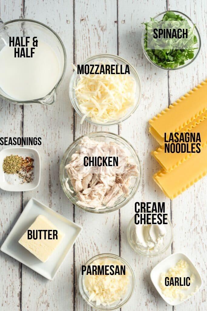 Florentine Chicken Lasagna Roll Ups - Ingredients