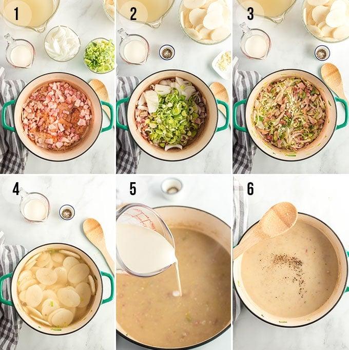 Potato Leek Soup - step by step instructions