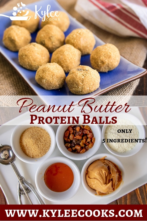 Collage with peanut butter protein balls on blue serving plate at top and individual ingredients in white bowls on a white serving tray at bottom.